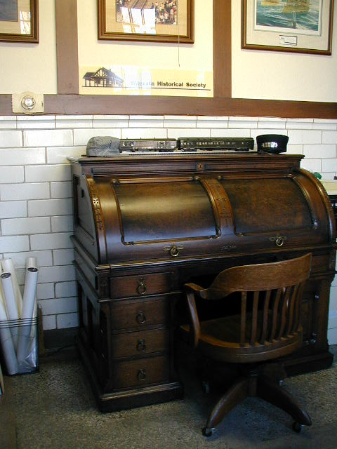 The desk returned home to the Depot in 2002, thanks to the generosity of  Wayzata resident, Stanley Gregory. - Wayzata Historical Society - Train Depot
